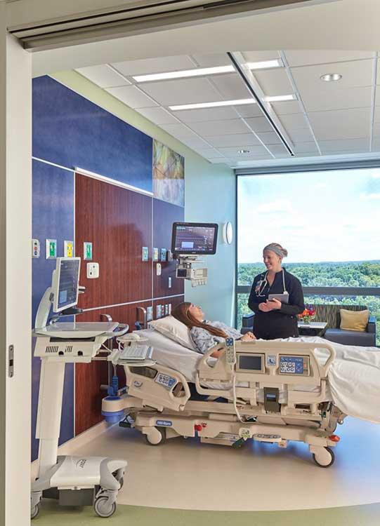 MetroHealth Campus Critical Care room patient with nurse
