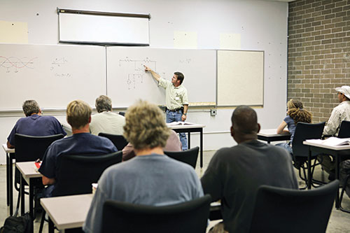 instructor teaching at whiteboard