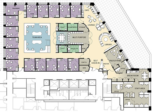 floorplan for staff area at Mass General