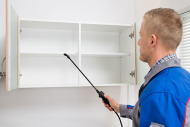 Pest control technician treating cabinets