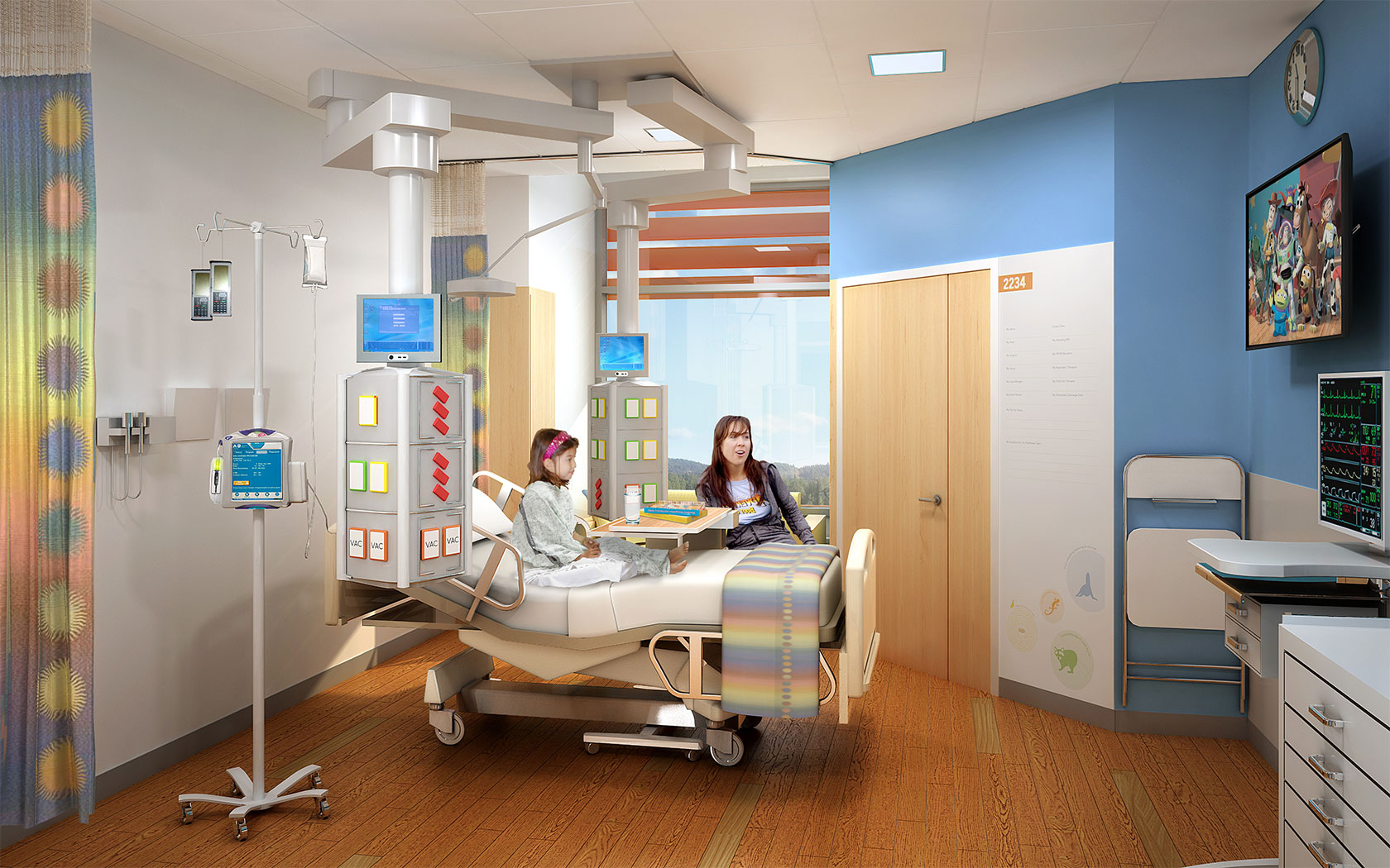 Hospital room with patient and family - The New Lucile Packard Children S Hospital Stanford Palo Alto Calif Is On Track To Open In December When The Facility Plans To Transform The Patient