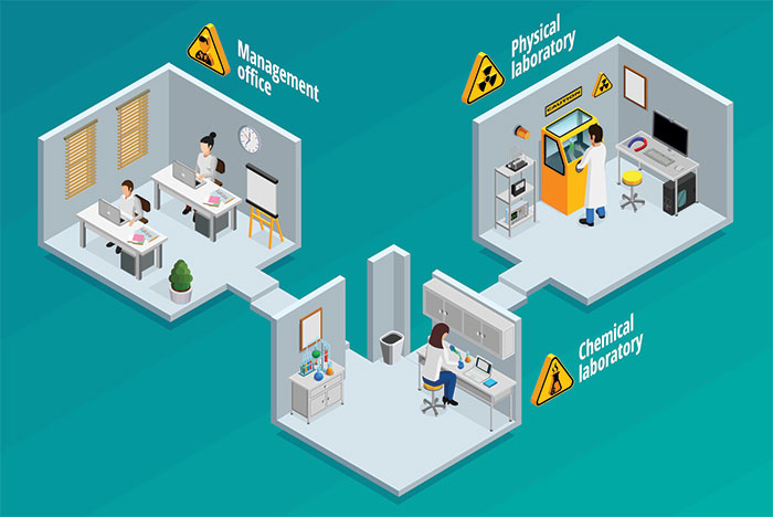illustration of connected hospital offices and labs