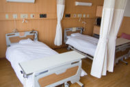 patient room with curtains