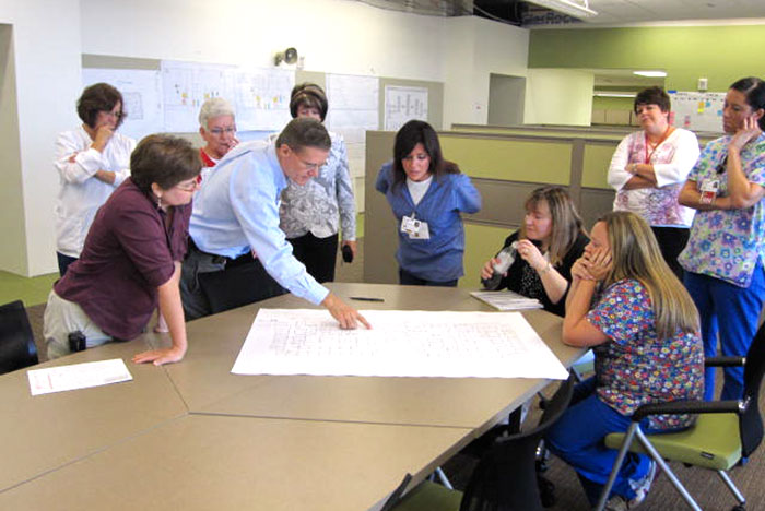 architects present hospital designs to clinical staff
