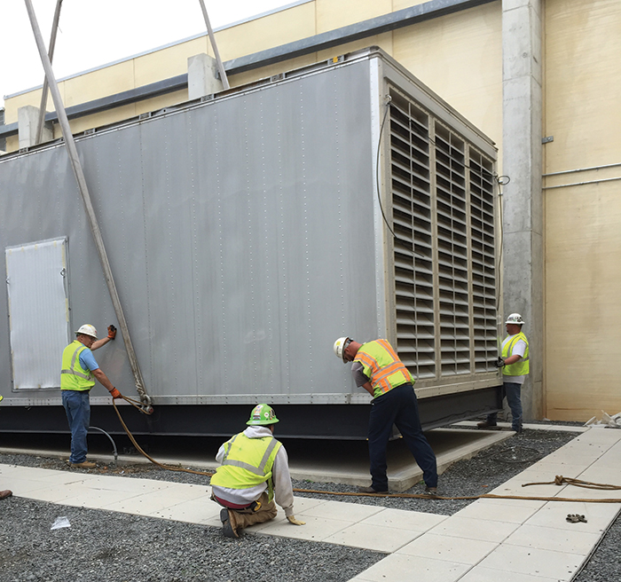 2-megawatt emergency generator being installed