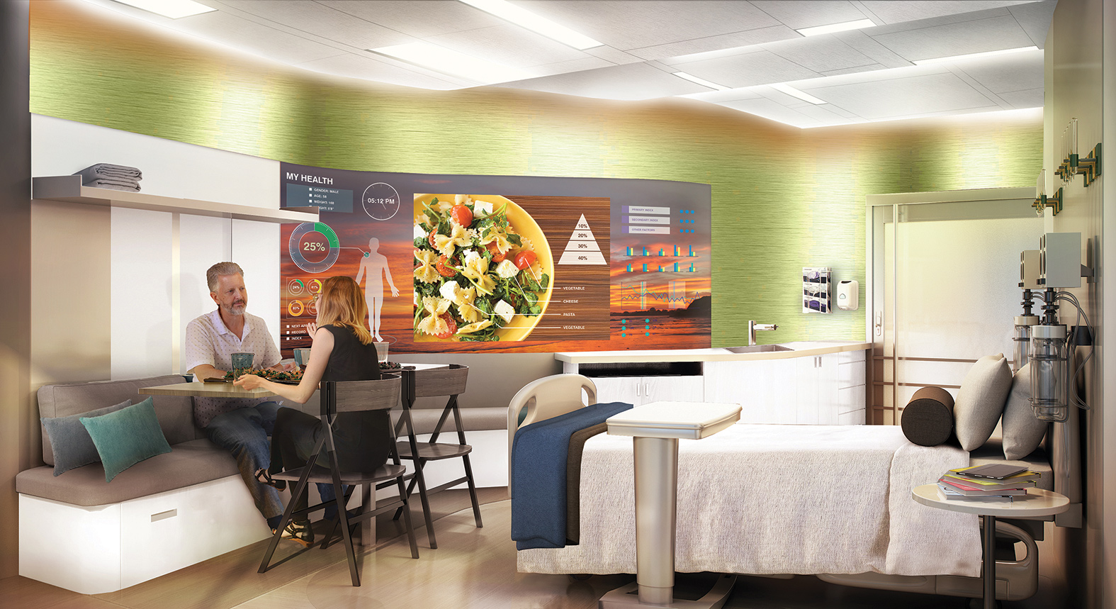 NBBJ Designers Have Developed A Patient Room Concept That Can Be  Reconfigured Throughout The Day To Provide Furnishings For Work, Sleep And Family  Dining ...