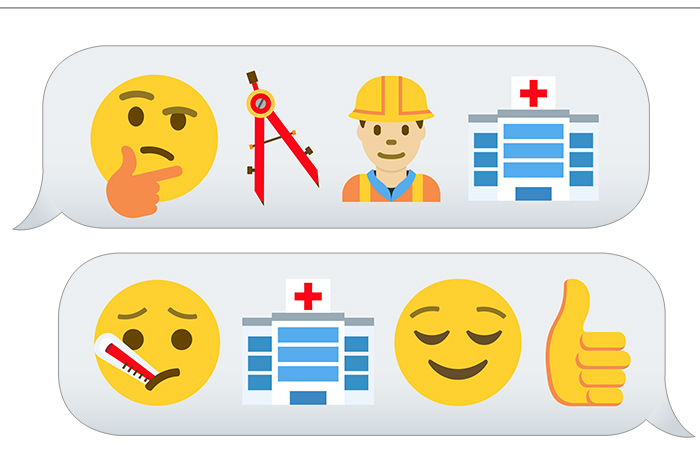emojis of design and build and use of hospital