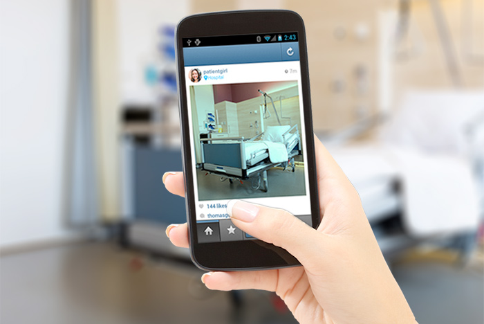 taking a photo of a patient room and posting it
