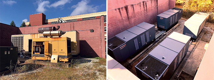 Before and after shots of Piedmont Newton Hospitals emergency power generators