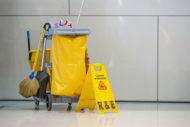 Cleaning cart in hallway