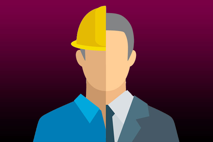 illustration of business person and construction worker