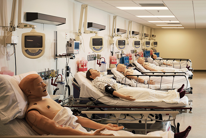 full simulation lab with dummies on gurneys