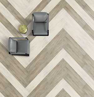 two chairs on herringbone pattern flooring