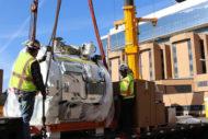 Contractors loading iMRI onto truck