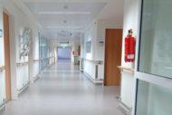 Fire extinguisher in hospital hallway