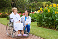 Doctor and patient in hospital garden