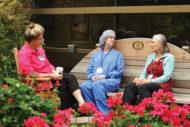 Nurses in hospital garden