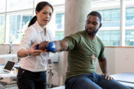 Physical therapist and veteran patient
