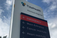 TidalHealth Peninsula Regional ED sign