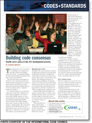 International Code Council, ASHE, codes and standards, International Building Code, International Fire Code, code development hearings, National Fire Protection Association, 2012 revision cycle, defend in place