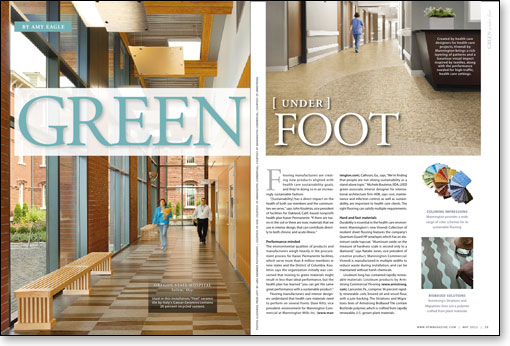 ceramic tile, recycled content, sustainability, Kaiser Permanente, interior designers, flooring manufacturers, HOK, infection control, flooring, linoleum, renewable materials, Resilient Floor Covering Institute, volatile organic compounds, Carpet and Rug Institute, heterogenous sheet vinyl