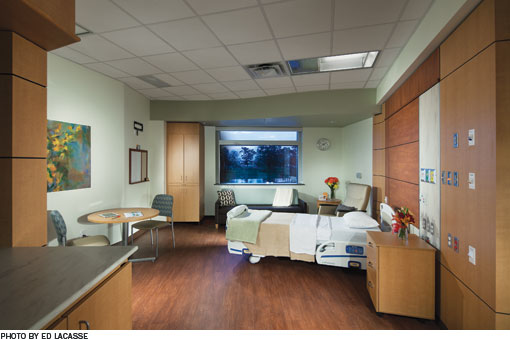 Patient's room in the hospital.  Pale pastel green walls surround a modern hospital room