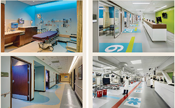 Four images of the interior of a hospital