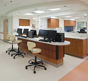 Interior of a hospital processing area