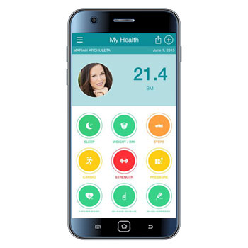 Smart Phone screen with a patient's body mass index, photo, and other buttons