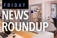 Hospital interior and Friday News Roundup logo