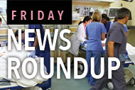 Medical professionals in emergency room with Friday News logo
