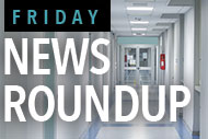 Hospital corridor and Friday News Roundup logo